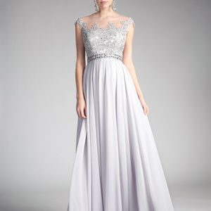 Silver Illusion Bridesmaid Long Dress